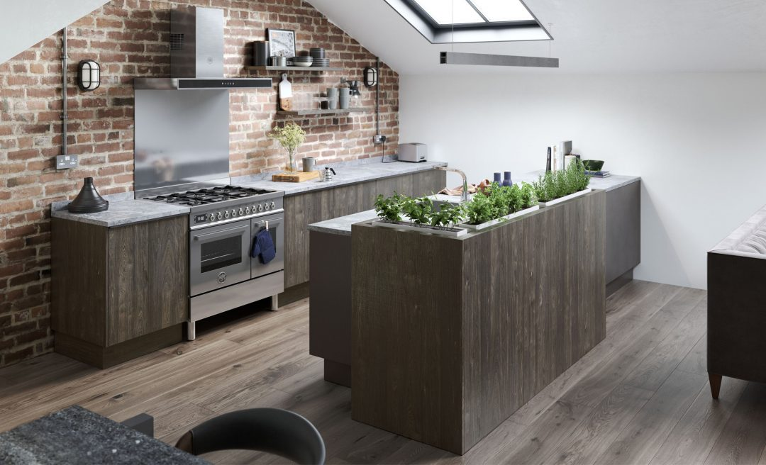 Modern contemporary Rezana with stained carbon oak ferro kitchen