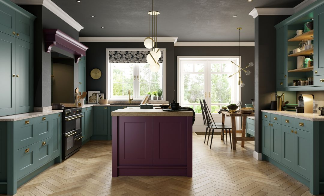 Florence classic modern kitchen deep heather