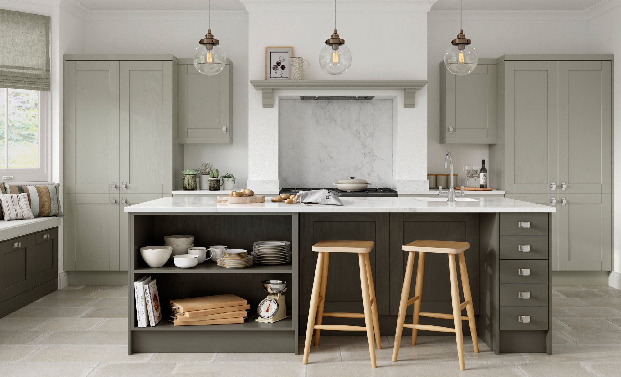 Kensington classic kitchen mussel and lava colour