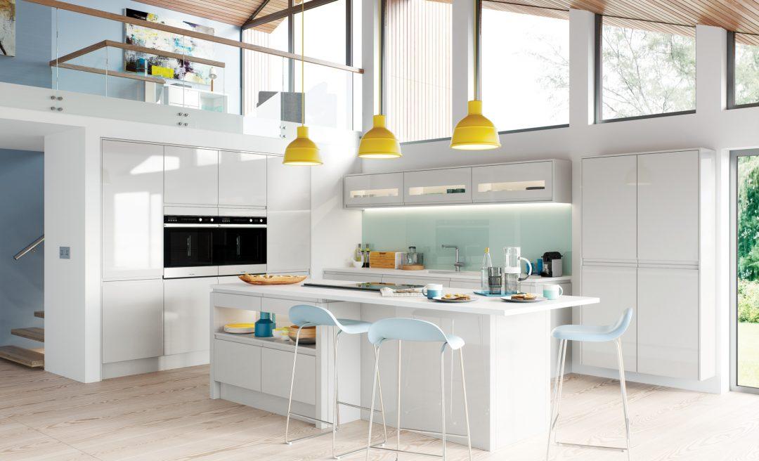Strada Gloss modern contemporary kitchen in light grey
