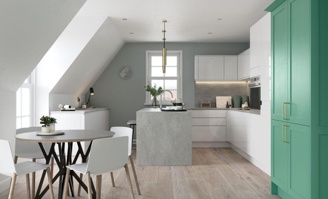 Strada Gloss and Aldana modern contemporary kitchen in white and vivid green