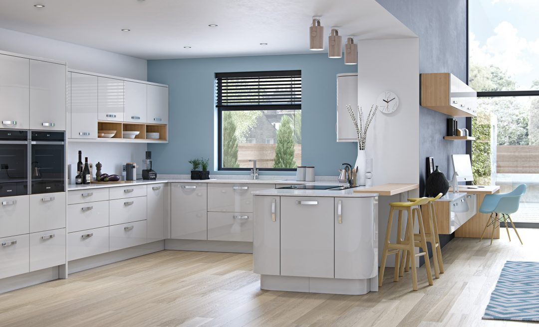 Zola gloss modern contemporary kitchen in light grey
