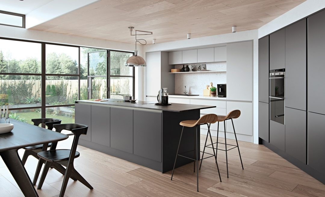 Zola, handleless, modern, contemporary, kitchen, grey