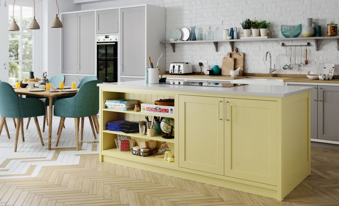 Aldana classic country chic kitchen grey white and pale yellow